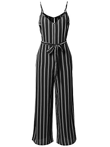 (Awesome21 Casual Self Tied Waist Belt Wide Leg Jumpsuit Romper Black White S)