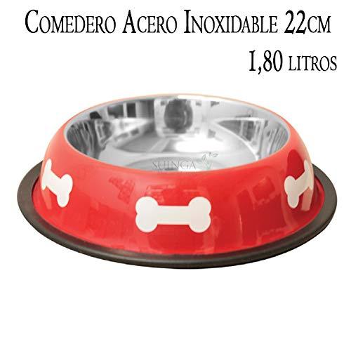 COMEDERO Perros Acero Inoxidable Rojo Ø22 cm. Capacidad 1.80 ...