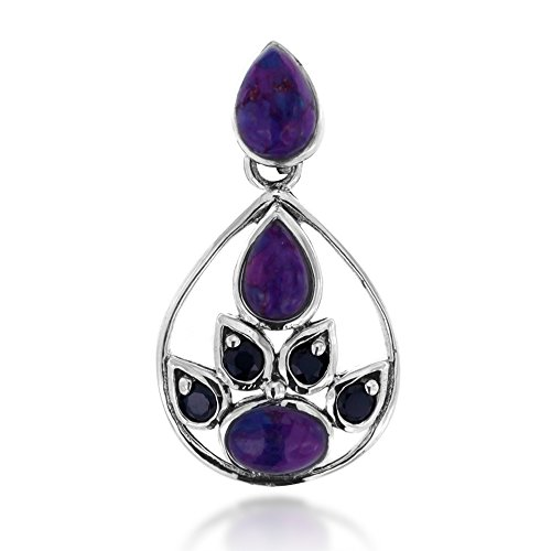 Chuvora 925 Oxidized Sterling Silver Purple Turquoise and Black Spinel Gemstone Tear Drop Pendant