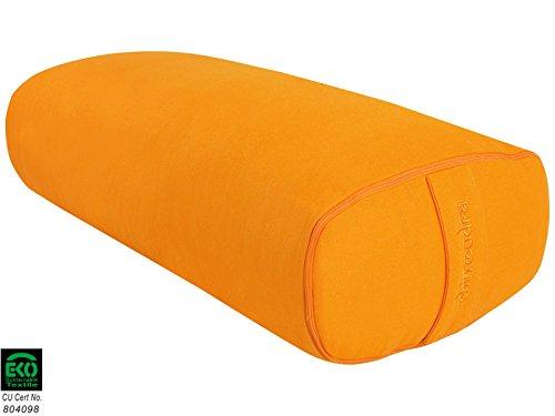 Ovales Yogakissen, 100% Bio Baumwolle, 60cm x 15cm x 30cm, BOLST/OLVAL-SAFR, Orange Safran, OVALE Chin Mudra