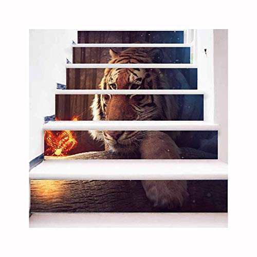 Ancoree 3D DIY Tiger Pattern Stair Sticker 18x100CM 6PCS/Set Wall Paper Removable PVC Waterproof Self-Adhesive Wall Sickers,Home Staircase Decal Stair Mural Decals Stair Riser Decal (Tiger)