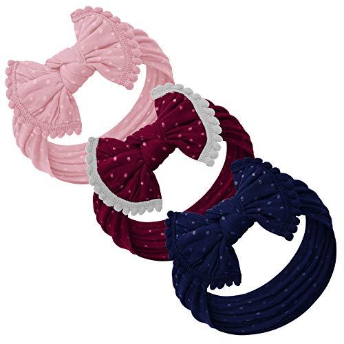 Baby Girl Headbands and bows - Nylon Headband Fits newborn toddler infant girls (Dusty Pink - Burgundy - Navy -