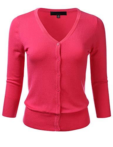 Women's Button Down 3/4 Sleeve V-Neck Stretch Knit Cardigan Sweater REDPINK 2X (Nylon V-neck Cardigan)