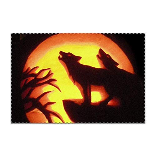 GPUnfdvc Pumpkin Wolf Carving Placemat for Dining Table Heat Resistant Wipeable Non-Slip 1 Piece