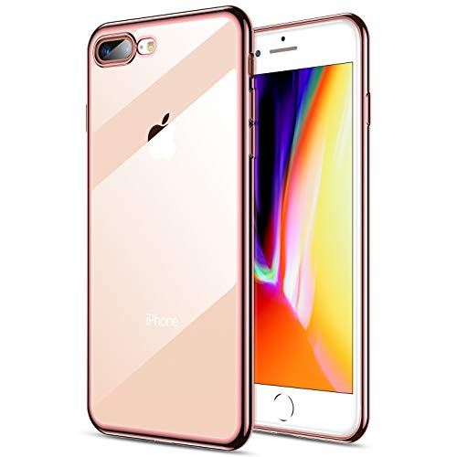 RANVOO iPhone 8 Plus Case, iPhone 7 Plus Case, Ultra Slim Thin Clear Soft Case with Premium Flexible Chrome Bumper and Transparent TPU Back Plate Gel Cover, iPhone 8 Plus / 7 Plus (Crystal Rose Gold)