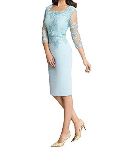 Blau Ballkleider Hell Charmant Spitze Blau Abendkleider Elegant Hell Knielang Damen Brautmutterkleider Etuikleider RnUqEn8