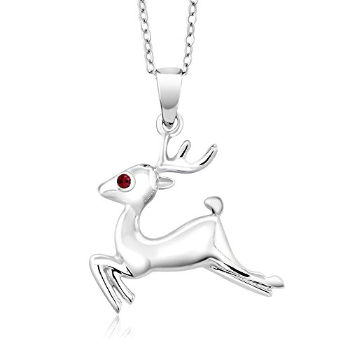 Gem Stone King 925 Sterling Silver Reindeer Pendant w- 18inches Chain Round Red Created Ruby, 1 ()