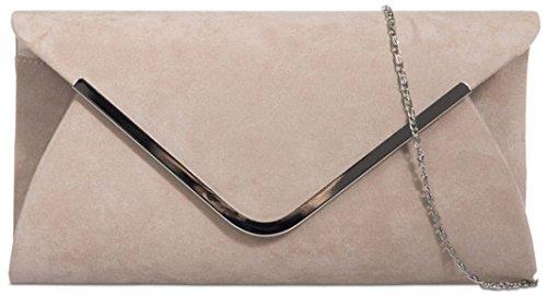 Ladies Classic Medium Sized Faux Suede Envelope Clutch Bag with Contrasting Trim - Fuchsia Nude