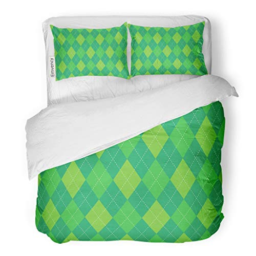 Tarolo Bedding Duvet Cover Set Green Golf Argyle Plaid Pattern Traditional Diamond Check for Digital Border Socks 3 Piece Twin 68