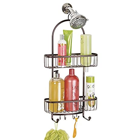 MDesign Bathroom Shower Caddy For Shampoo, Conditioner, Soap   Extra Large,  Bronze