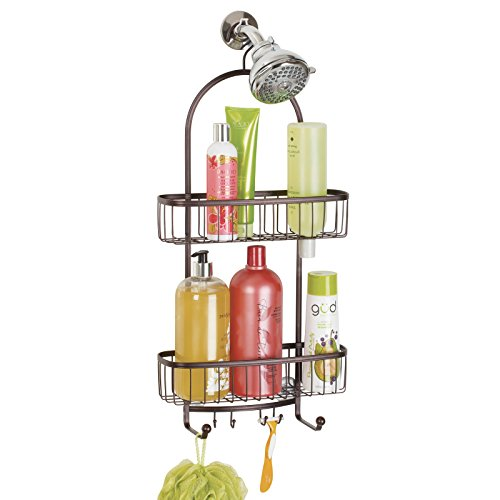 mDesign Bathroom Shower Caddy for Shampoo, Conditioner, Soap - Extra Large, Bronze by mDesign