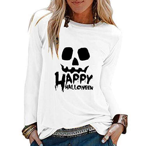 When To Carve Pumpkin For Halloween (NANTE Top Loose Women's Blouse Halloween Pumpkin Smlie Print T Shirt Hallowmas Party Sweatshirt Womens Tops Clothes Clothing (White,)