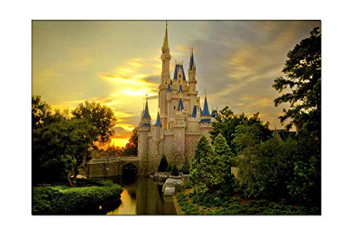 Pigbangbang Waterproof Artwork On Canvas - Sunset Over Cinderella Castle Artwork Modern Picture for Dining Room Wall Decor Home Decoration Ready to Hang 12