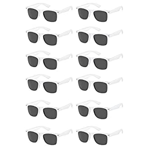 White Wayfarer Sunglasses Party Pack-12 Pure White Premium Quality Plastic-Wholesale Bulk from The Gag