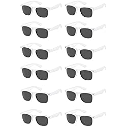 TheGag White Wayfarer Sunglasses Party Pack-12 Pure White Premium Quality Plastic-Wholesale Bulk from