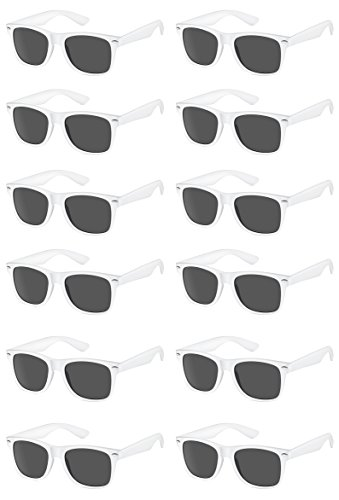 TheGag White Wayfarer Sunglasses Party Pack-12 Pure White Premium Quality Plastic-Wholesale Bulk Wedding Party Sunglasses ()