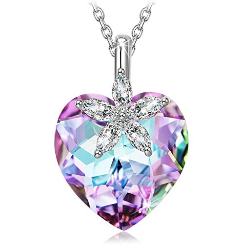 Alex Perry Necklace Gifts for Women, Bauhinia Heart Necklace Pendant for Girls, Crystals from Austria, 925 Sterling…