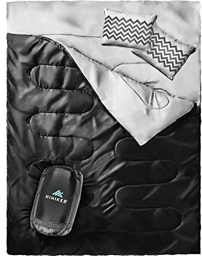 HiHiker Double Sleeping Bag Queen Size XL -for Camping, Hiking Backpacking and Cold Weather, Portable, Waterproof and Lightweight - 2 Person Sleeping Bag