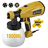 Paint Sprayer Gun 800ml/min, Ginour Electric Spray Gun wtih 3 Spray Patterns & 3 Nozzle Sizes, Flow Control and 6.6Ft Cord Length for Painting Projects