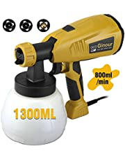 Paint Sprayer, Ginour 400W 1300ml Detachable Container, Fence Sprayer with 3 Painting Modes, 3 Nozzle Sizes, HVLP Paint Sprayer, 800 ml/min, 6.6ft Cable