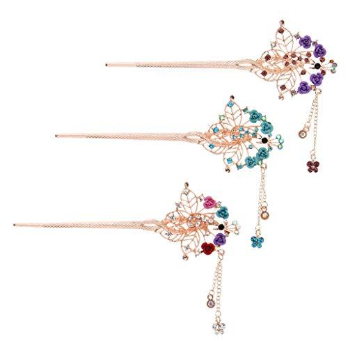 3 Handmade Ancient Chinese Flower Hair Pin Stick Slide Clip Clasp Bun Holder ()
