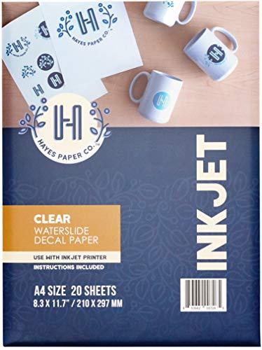 Hayes Paper, Waterslide Decal Paper INKJET CLEAR 20