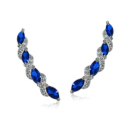 - Sterling Silver Created Blue Sapphire and White Topaz Twist Crawler Climber Hook Earrings