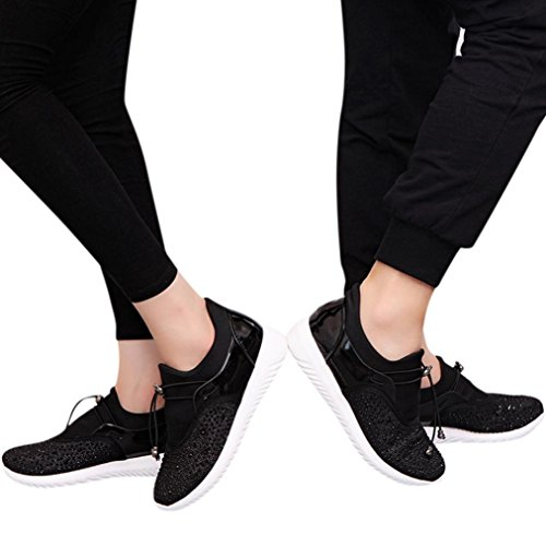 Bovake Casual Sneakers Shoes, Men's Women's Couples Unisex Casual Sneakers Sports Running Breathable Mesh Shoes - Gym Running Jogging Trainers Fitness Lightweight Shoes Black