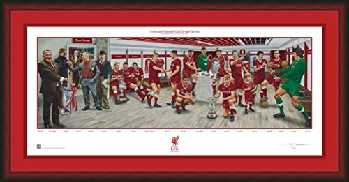 Liverpool FC Premier League Soccer Dream Scene Lithograph Panorama Photo (Cherrywood Frame, Red Matting) - By Artist Jamie Cooper