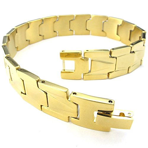 KONOV Mens Stainless Steel Bracelet, Classic Link Wrist, Gold
