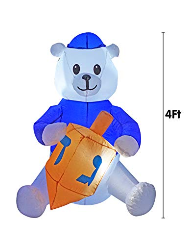 BIGJOYS 4 Ft Hanukkah Inflatable Polar Bear Decoration Chanukah Inflatables Bear Hold a Dreidel Decorations Christmas White Bear for Home Garden Lawn Yard Indoor Outdoor