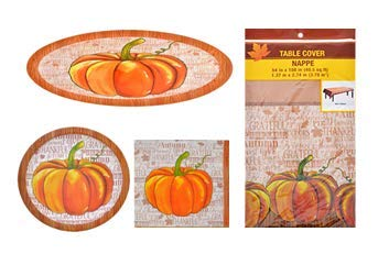 Oval Pumpkin - Fall/Thanksgiving Fall Harvest Pumpkin Tableware Ultimate Kit for 18 Guests Includes Oval Plastic Platters,Dinner Plates,Napkins & Table Cover - 38 ct