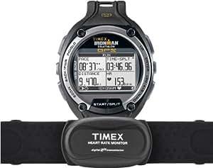 Timex Ironman Global Trainer - Reloj digital de caballero de cuarzo con correa de goma negra (monitor de frecuencia cardiaca, brújula y GPS, altímetro y sensor de profundidad) - sumergible a 50 metros
