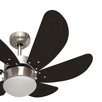 FABRILAMP ventilatore da soffitto con luce LED serie Delfino Bianco Pale colori pastello 13/W 4000/K con telecomando