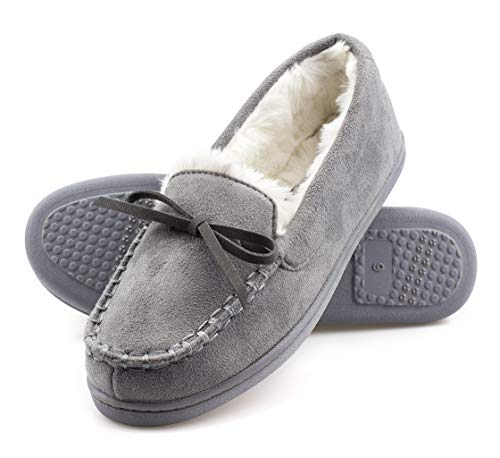 ArcticShield Women's Memory Foam Indoor/Outdoor Durable Comfort Slip On Plush Fur Moccasin Slippers (7 (M) US Women's, Gray)