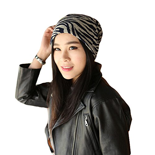 Fashion Zebra Baggy Beanie Cap Slouchy Skull Hat Men/Women Hat,Dark Blue - Fashion Express Zebra