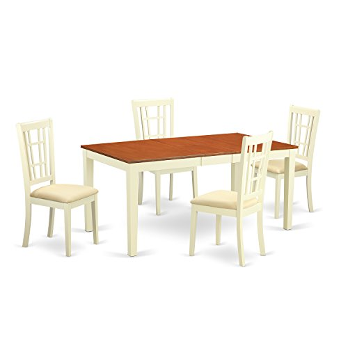 East West Furniture NICO5-WHI-C 5-Piece Dining Table Set, Buttermilk/Cherry Finish