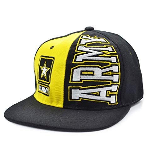 United States Army Hat Flat Visor Snapback Hat Children Soccer U.S.Army Embroidery Kids Baseball Cap Hat Bone Boys Girls Sports Snapback Hip-hop Caps Letters in Vertical Lines Adjustable Yellow M