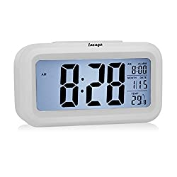Lazaga Alarm Clock, Large LCD Display Digital Alarm Easy to Set and Watch,Low Light Sensor Technology Soft Night Light Repeating Snooze Month Date & Temperature Display,White