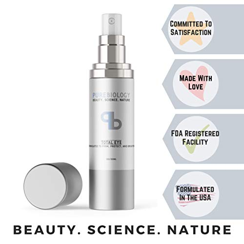 "Pure Biology ""Total Eye"" Cream with Hyaluronic Acid, Baobab Oil & Anti Aging Complexes to Reduce Dark Circles, Puffiness, Under Eye"