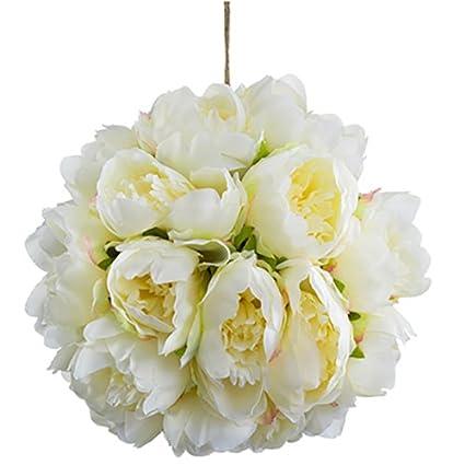 Amazon 10 peony kissing silk flower ball cream pack of 6 10quot peony kissing silk flower ball cream pack mightylinksfo