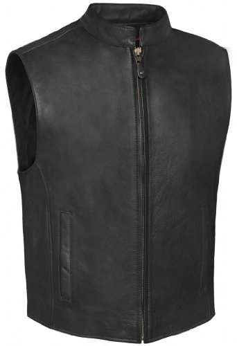 - True Element Mens Single Back Panel Leather Motorcycle Club Style Vest w/Concealed Carry Pockets (Black, Size 2XL)