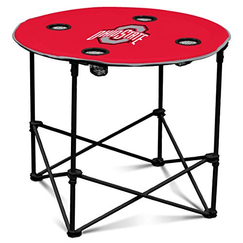 (Ohio State Buckeyes Collapsible Round Table with 4 Cup Holders and Carry Bag)