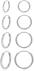 Hoop Earring 14K White Gold Plated S925 Sterling Silver…