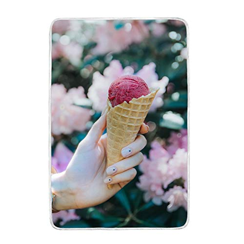 Crystal Ice Cone Cream (PQFLICS Ice Cream Ice Cream Cone Hand Manicure Blur Top Grade Crystal Wool and Polar Velvet Super Soft Warm Blanket,Lightweight Bed Couch Blanket,60 by 90-Inch)