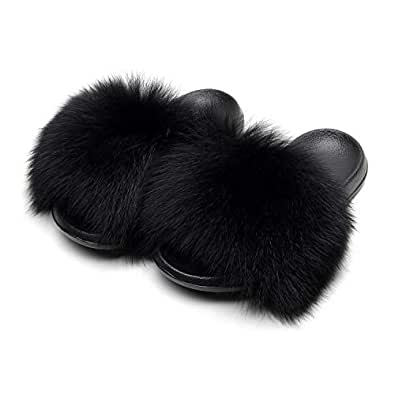 HONGTEYA Real Fox Fur Slides Slippers for Women 20+ Styles Toddler Girls Feather Slip On Summer Furry Sandals Flip Flops Shoes Flats  (6.5 M US Adult, CN36, Black)