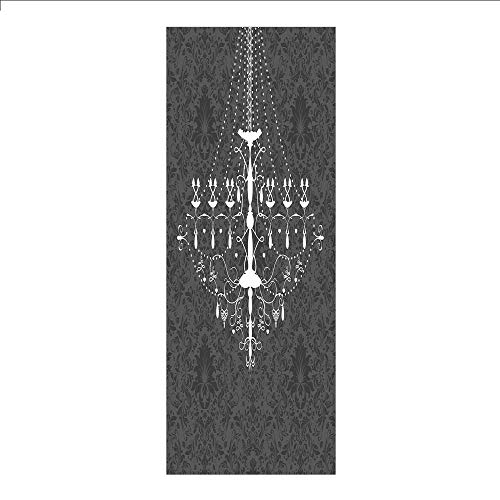 Decorative Privacy Window Film/Victorian Baroque Stylized Nostalgic Chandelier on Damask Background Rococo Design/No-Glue Self Static Cling for Home Bedroom Bathroom Kitchen Office Decor Grey White