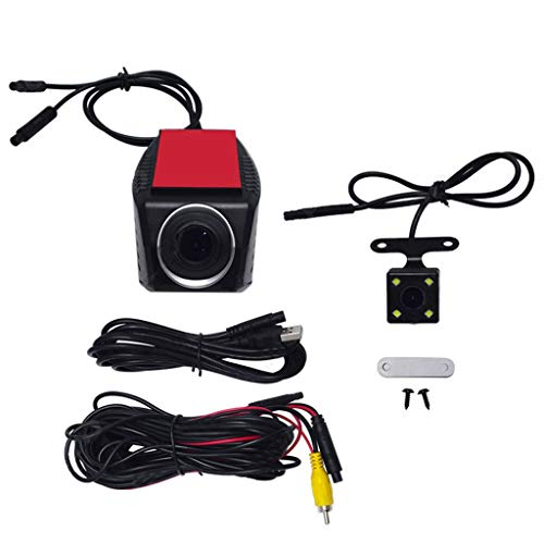 Lomsarsh Front and Rear Dual Camera for Cars 170°Wide Angle 720p Driving Recorder Car USB Android Front Rear Double Recording Night Vision Dual Lens