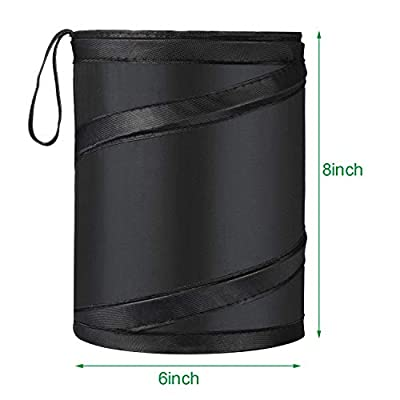 Car Trash Can Bag Car Garbage Holder Container Traveling Portable Garbage Bin Collapsible Pop-up Water Proof Bag Waste Rubbish Bucket, Black (1): Automotive