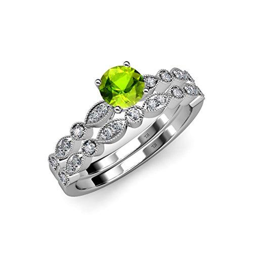 Peridot and Diamond Marquise & Dot Engagement Ring & Wedding Band Set 1.35 ct tw 14K White Gold.size (Gold Marquise Peridot Ring)